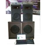 Profesionální reproduktory+zesilovače+mix 2x800W basy + 2x150W středobasy a výšky 2x60W k zapůjčení
