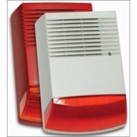 Drôtová profi magnetodynamická strobo siréna červená veľká zálohovaná, SPL 120dB, biela