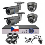 4CH 1080p AHD kamerový set STARLIGHT CCTV - DVR s LAN a 2+2x bullet+dome,4x ZOOM 2,8-12 mm, CZ menu,P2P, HDMI, P2P, IVA, H265+