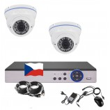 4CH 1080p AHD kamerový set STARLIGHT CCTV- DVR a 2x vonkajšie dome bielych IR kamier, 4x ZOOM, BIELE, CZ menu,P2P, HDMI, IVA, H265+