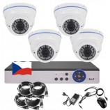 4CH 1080p AHD kamerový set STARLIGHT CCTV - DVR a 4x vonkajších bullet IR kamier, 4x mot. ZOOM 2,8-12mm, BIELE, CZ menu,P2P, HDMI,  IVA, H265+