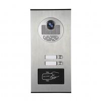 Kovový odolný videozvonek vonkajší pre 2 účastníkov s RFID čítačkou, 2ks tlačidiel XSL-530-2 ID + DO 433MHz