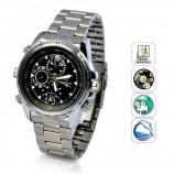 8GB, vodotěsné špionážní kovové hodinky s kamerou (PQ119)