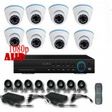 8CH 1080p AHD kamerový set - DVR s LAN a 8x dome AHD IR kamer, 1920x1080px/CH, CZ menu,P2P, HDMI, 2MPx