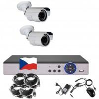 4CH 1080p AHD kamerový set CCTV - DVR s LAN a 2x vonkajších bullet IR kamier, CZ menu,P2P, HDMI, IVA, H265+