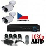 4CH 1080p AHD kamerový set CCTV - DVR s LAN a 2x vonkajších bullet AHD IR kamer, 1920x1080px/CH, CZ menu,P2P, HDMI