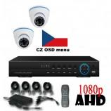 4CH 1080p AHD kamerový set CCTV - DVR s LAN a 2x vonkajších dome AHD IR kamier, 1920x1080px/CH, CZ menu,P2P, HDMI