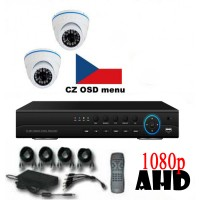 4CH 1080p AHD kamerový set CCTV - DVR s LAN a 2x venkovních dome AHD IR kamer, 1920x1080px/CH, CZ menu,P2P, HDMI