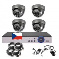 4CH 5MPx STARVIS AHD kamerový set CCTV - DVR s LAN a 4x vonkajšie vari 2,8-12mm dome, 2688×1960px/CH, CZ menu,P2P, HDMI, IVA, H265+