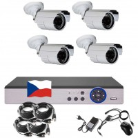 4CH 4MPx AHD kamerový set CCTV - DVR s LAN a 4x vonkajšie bullet , 2688×1520px/CH, CZ menu, P2P, HDMI, IVA, H265+