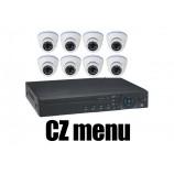 8CH 4MPx AHD kamerový set CCTV - DVR s LAN a 8x venkovních dome AHD IR kamer, 2688×1520px/CH, CZ menu,P2P, HDMI