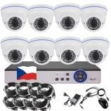 8CH 5MPx STARVIS kamerový set CCTV - DVR s LAN a 8x vonkajších vari 2,8-12mm dome biele IR kamier W, 2688×1960px/CH, CZ menu,P2P, HDMI, IVA, H265+