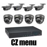 8CH 4MPx AHD kamerový set CCTV - DVR s LAN a 8x venkovních vari 2,8-12mm bullet/dome AHD IR kamer, 2688×1520px/CH, CZ menu,P2P, HDMI