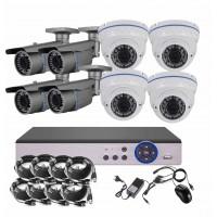8CH 5MPx STARVIS kamerový set CCTV - DVR s LAN a 4+4x vonkajších vari 2,8-12mm bullet/dome biele IR kamier, 2688×1960px/CH, CZ menu,P2P, HDMI, IVA, H265+