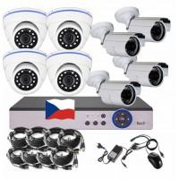 8CH 4MPx AHD kamerový set CCTV - DVR s LAN a 4+4 vonkajších bullet/dome kamier, CZ menu,P2P, HDMI, IVA, H265+