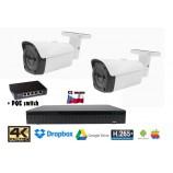 Kamerový set 8MPx 4K H265 IP - 2x bullet kamier + 4K 32CH NVR 3108 s CZ menu + POE switch 4+1