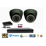 Kamerový set 8MPx 4K H265 IP 2x EXIR dome +  4K 32CH NVR 3108 s CZ menu + POE switch 4+1