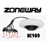 """4MPx H265 IP FISH EYE WIFI/LAN kamera,1/2,9"""" SONY WDR, rybí oko f=1,05mm, POE, SD, WDR, P2P, AUDIO I/O, ALARM I/O, EXIR 20m, Dropbox, GOOGLE (ZONEWAY NC900)"""