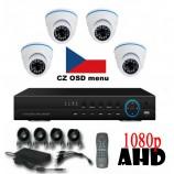 8CH 1080p AHD kamerový set - DVR s LAN a 4x dome  AHD IR kamer, 1920x1080pxpx/CH, CZ menu,P2P, HDMI