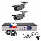 4CH 1080p AHD kamerový set STARLIGHT CCTV - DVR s LAN a 2x bullet IR kamier,4xZOOM,CZ menu,P2P, HDMI, 2MPx,  IVA, H265+
