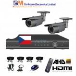 4CH 1080p AHD kamerový set STARVIS CCTV - DVR s LAN a 2x bullet AHD IR kamer,4xZOOM, vč. příslušenství, s kabeláží, 1920x1080px/CH, CZ menu,P2P, HDMI, 2MPx