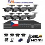 8CH 1080p AHD DVR kamerový set STARVIS CCTV - DVR s LAN a 8x bullet AHD IR kamier, 4x ZOOM,  vr. príslušenstvo, s kabelážou, 1920x1080px/CH, CZ menu,P2P, HDMI, 2MPx