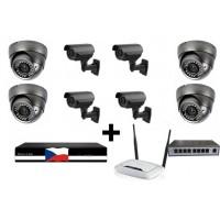 Kamerový 4MPx  IP set,  MHK 4x 316LP + 4x 701 FULL HD vari+ NVR6109F + router + POE switch 8 + 1